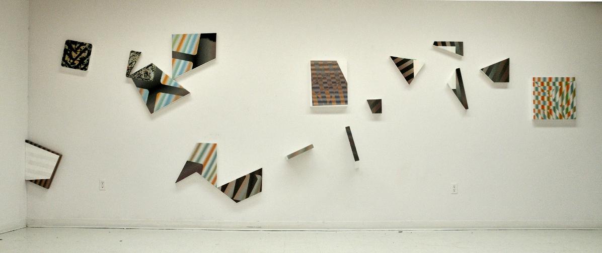 Fragments 2, 2013, Acrylique sur toiles et sur panneaux, dimension variable