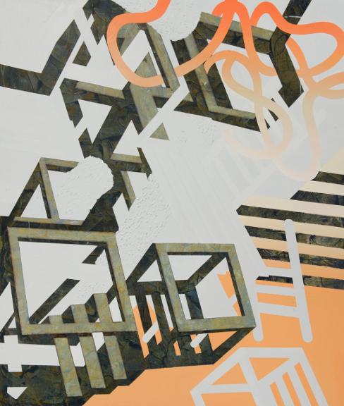Décollage 2, 2012, Acrylique sur toile, 48'' cm X 60''