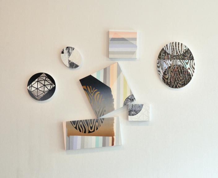 Fragments, 2013, Acrylique sur toiles et sur panneaux, dimension variable