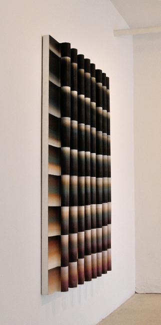 Faire Écran 3 (Aube), de biais, 2013, Acrylique sur toile collée sur panneau, 66 p X 54 p