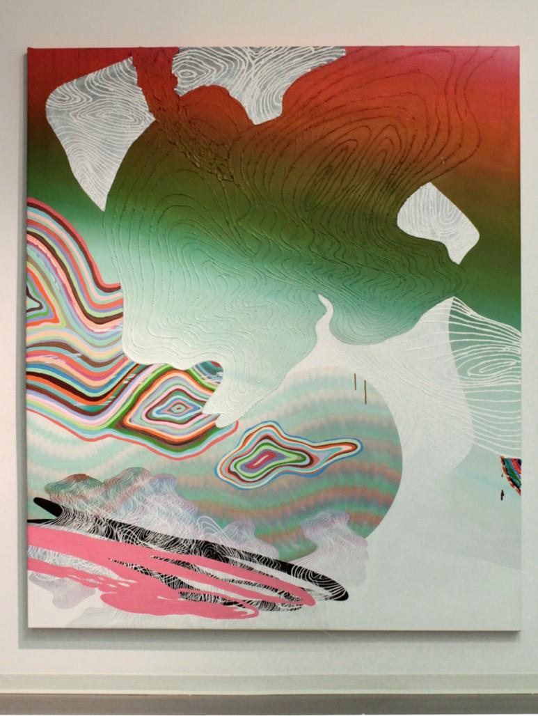 Aquarius (let the sunshine in), 2014, Acrylique et sérigraphie sur toile, 72'' x 60''