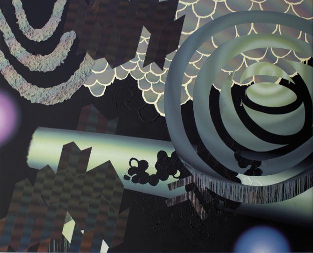 Neon Disco Forest, 2014, Acrylique sur toile, 51'' x 62''