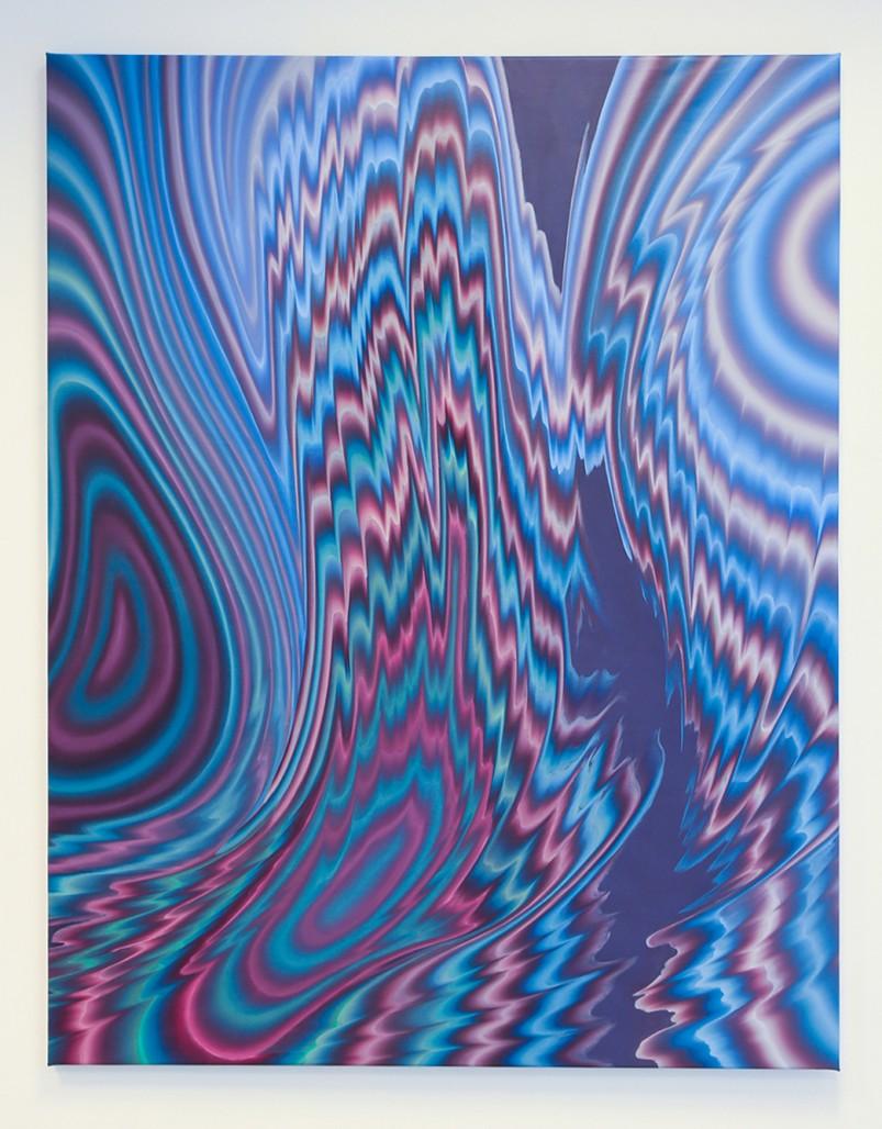 Sillage 1 ( Un fantôme descendant l'escalier) /  Wakes 1 ( Some ghost descending a staircase), 2019, Acrylique sur toile, 65 » x 49 »