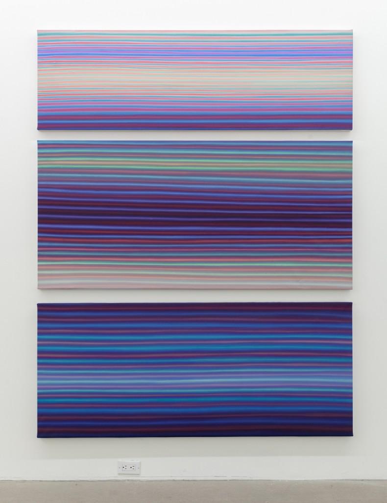 Let's take a break, 2019, acrylique sur toile, tryptique d'environ 82 » x 63 »